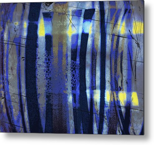 Bubble Lines Abstract Digital Image Susan Epps Oliver Original Blue Abstract Lines Fun Contemporary Metal Print featuring the mixed media Bubble Lines by Susan Epps Oliver
