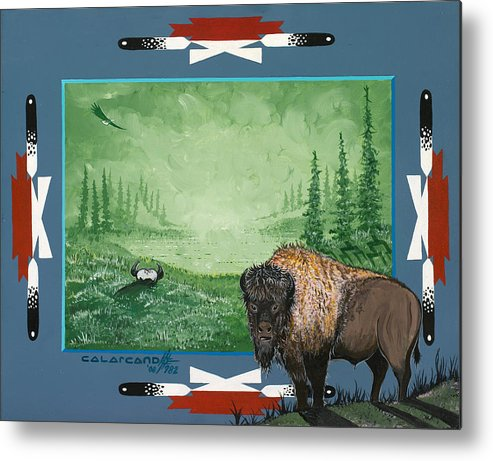 Buffalo Metal Print featuring the painting Buffalo Spirit by Cal Arcand