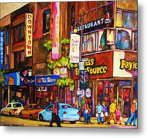 Cityscape Metal Print featuring the painting Busy Downtown Street by Carole Spandau