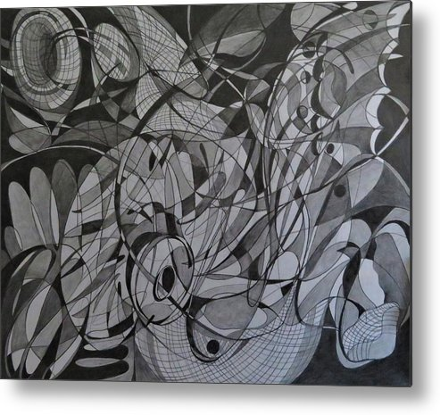 Line Abstract Metal Print featuring the drawing Butterfly Effect by Natalia Leigh