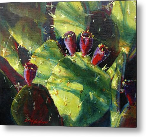 Art Metal Print featuring the painting Cactus Shadows by Cynthia Westbrook