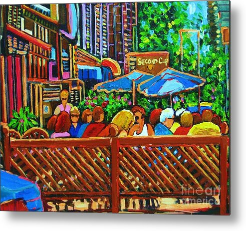 Cafes Metal Print featuring the painting Cafe Second Cup by Carole Spandau