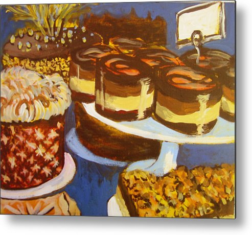 Cake Metal Print featuring the painting Cake Case by Tilly Strauss