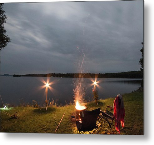 Camping Metal Print featuring the photograph Campsite Lakeside by Justin Mountain
