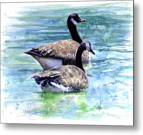 Canada Metal Print featuring the painting Canada Geese by John D Benson