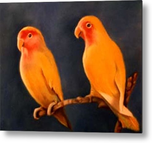 Canaries Metal Print featuring the pastel Canaries by Jordana Sands
