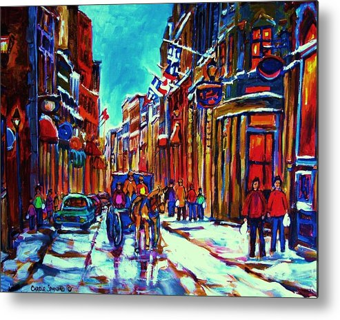 Old Montreal Metal Print featuring the painting Carriage Ride Through The Old City by Carole Spandau