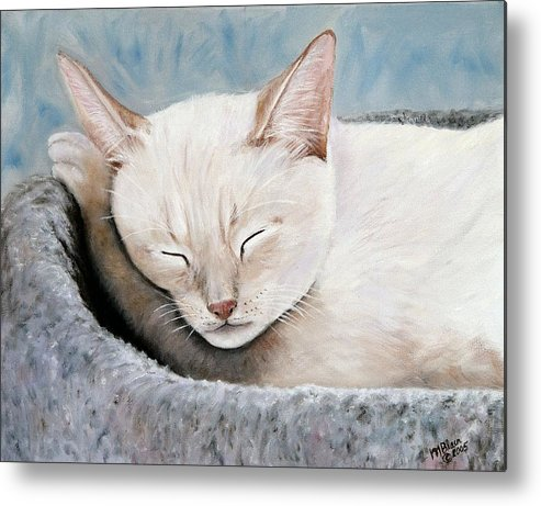 Pets Metal Print featuring the painting Cat Nap by Merle Blair