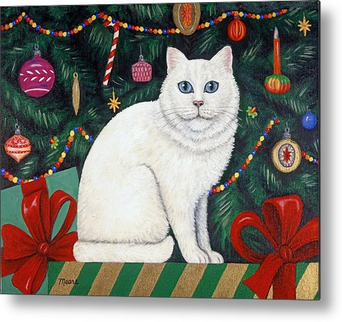 Christmas Tree And Cat Metal Print featuring the painting Cat Under The Christmas Tree by Linda Mears