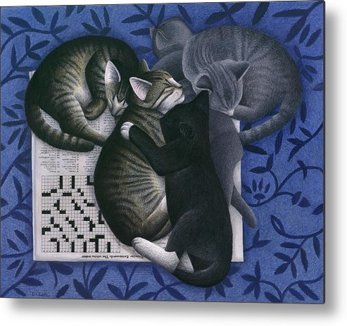Alley Cat Metal Print featuring the painting Cats And Crossword by Carol Wilson