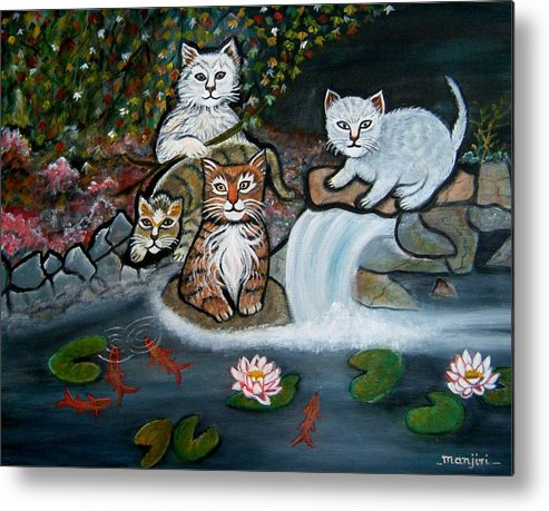 Acrylic Art Landscape Cats Animals Figurative Waterfall Fish Trees Metal Print featuring the painting Cats In The Wild by Manjiri Kanvinde