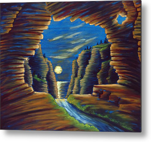 Cave Metal Print featuring the painting Cave With Cliffs by Jennifer McDuffie