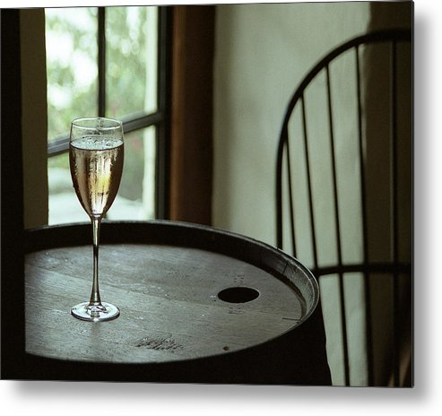 Still Life Metal Print featuring the photograph Champagne Glass by Barry Shaffer