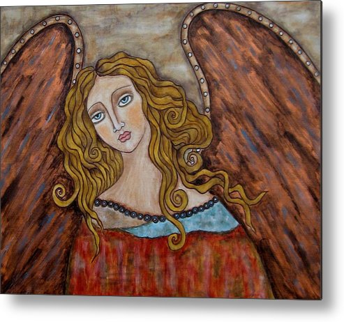 Folk Art Paintings Paintings Metal Print featuring the painting Chaourum by Rain Ririn