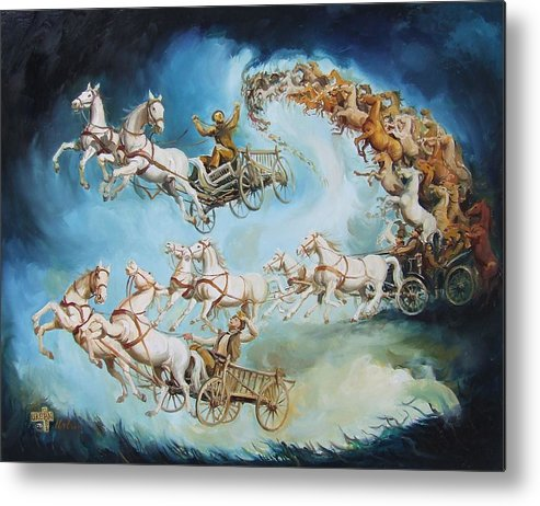 Horse Metal Print featuring the painting Chariots In Storm by Gabor Urban