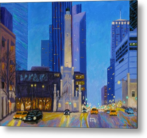 Chicago Art Metal Print featuring the painting Chicago's Water Tower At Dusk by J Loren Reedy