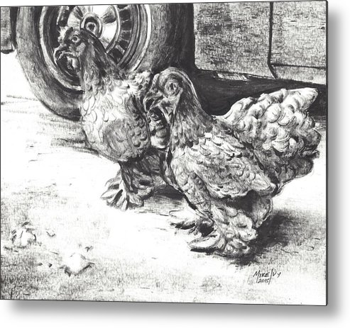 Chicken Metal Print featuring the drawing Chickens Crossing The Road by Michael Ivy