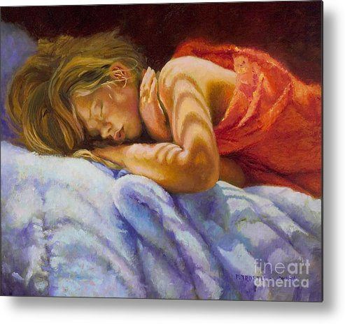 Wall Art Metal Print featuring the painting Child Sleeping Print Wall Art Room Decor by Patti Trostle