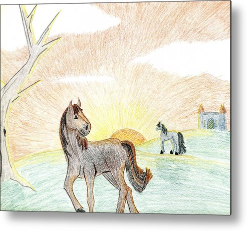 Horse Metal Print featuring the drawing Childhood Dream by Kim