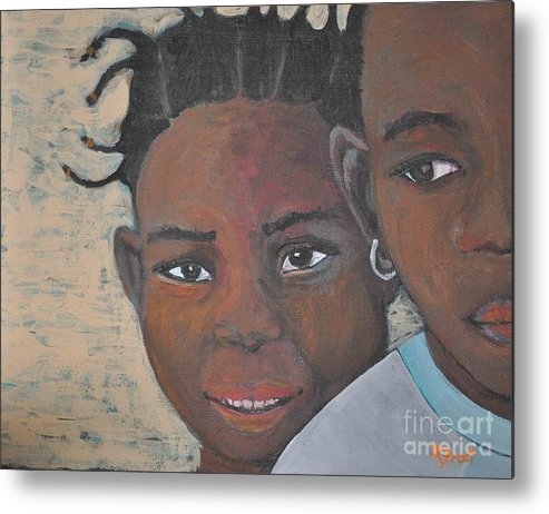 Burkina Faso Metal Print featuring the painting Children Burkina Faso Series by Reb Frost