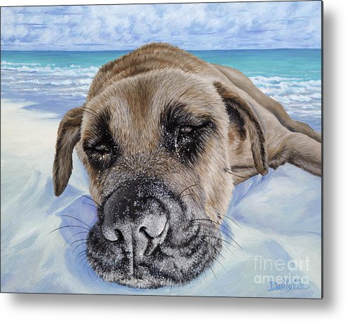 Pet Portrait Metal Print featuring the painting Chillin In Briland by Danielle Perry