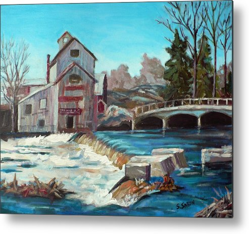 Mill Metal Print featuring the painting Chishom's Mill by Saga Sabin