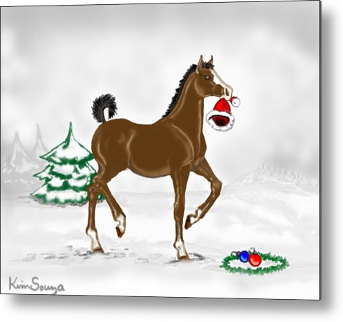 Christmas Metal Print featuring the painting Christmas Colt by Kim Souza