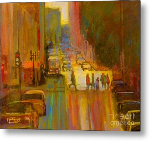 City Metal Print featuring the painting City Crosswalk by Kip Decker