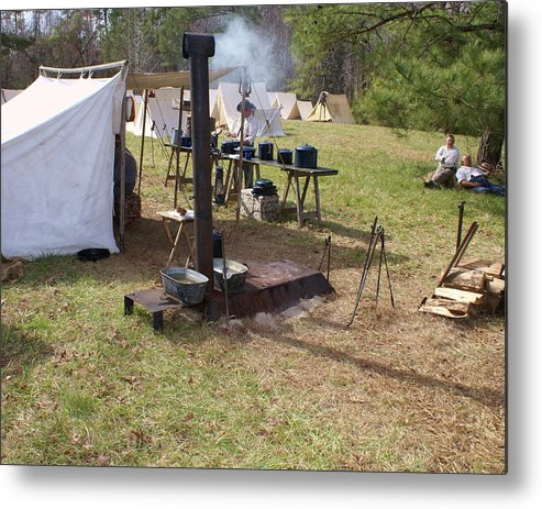 Civil War Metal Print featuring the photograph Civil War Camp Stove And Mess by Rodger Whitney