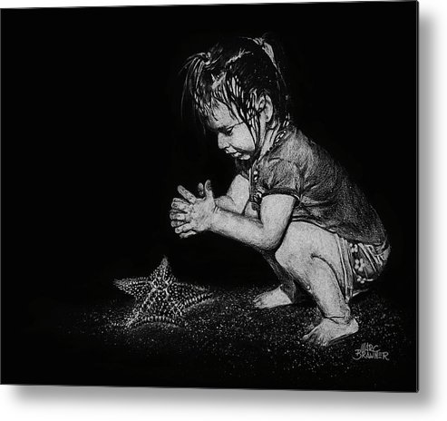 Girl Metal Print featuring the drawing Claire On Beach by Marc Brawner