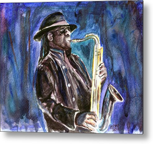 Clarence Clemons Metal Print featuring the painting Clarence Clemons by Clara Sue Beym