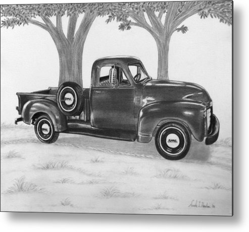 Truck Metal Print featuring the drawing Classic Gmc Truck by Nicole I Hamilton