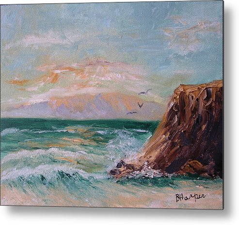 Waves Metal Print featuring the painting Cliffs And Waves by Barbara Harper