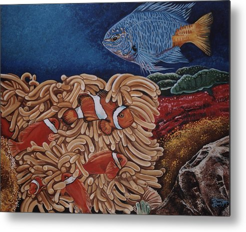 Underwater Scene Metal Print featuring the painting Clownfish by Diann Baggett