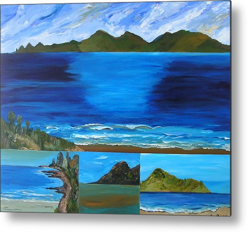 Blue Sea Ocean Coastal Vista Waves Surf New Zealand Metal Print featuring the painting Coast To Coast by Sher Green