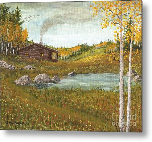 Mountain Metal Print featuring the painting Colorado Cabin by Don Lindemann