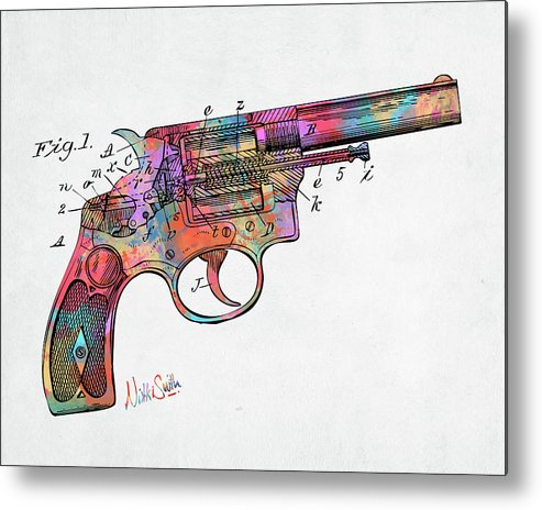 Wesson Metal Print featuring the digital art Colorful 1896 Wesson Revolver Patent by Nikki Marie Smith