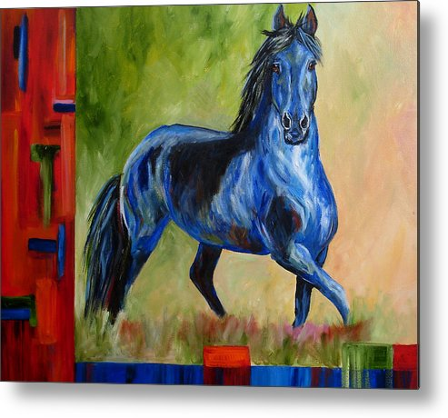 Horse Metal Print featuring the painting Contemporary Horse Painting Fresian by Mary Jo Zorad