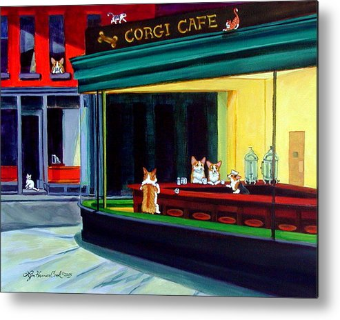 Pembroke Welsh Corgi Metal Print featuring the painting Corgi Cafe After Hopper by Lyn Cook