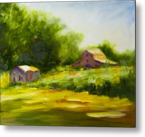 Landscape In Green Metal Print featuring the painting Courage by Shannon Grissom
