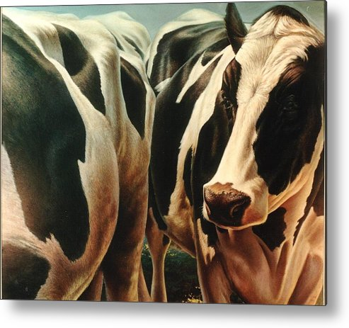 Cows Metal Print featuring the painting Cows 1 by Hans Droog