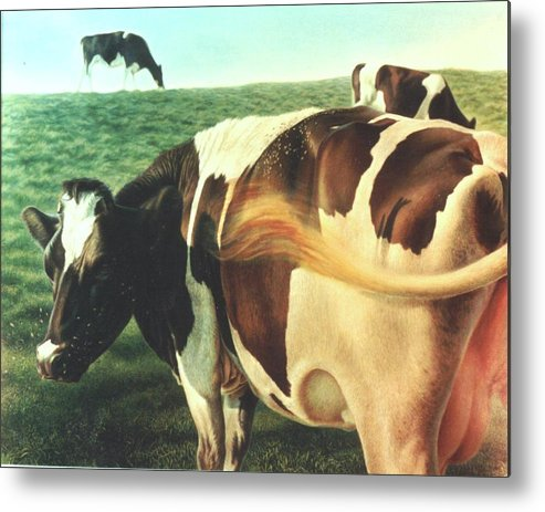 Cows Metal Print featuring the painting Cows 2 by Hans Droog