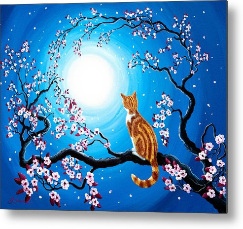 Orange Tabby Metal Print featuring the painting Creamsicle Kitten In Blue Moonlight by Laura Iverson