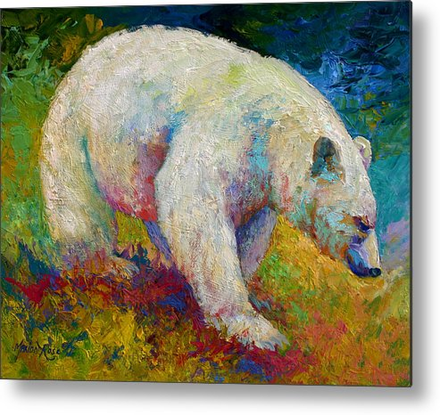 Western Metal Print featuring the painting Creamy Vanilla - Kermode Spirit Bear Of Bc by Marion Rose
