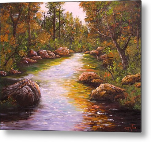 Connie Tom Metal Print featuring the painting Creek Retreat Vii by Connie Tom