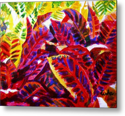 Nature Metal Print featuring the painting Crotons Sunlit 1 by Usha Shantharam