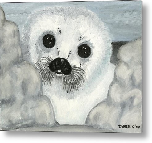 A Curious Arctic Seal Pup Peeking Through Icebergs Metal Print featuring the painting Curious Arctic Seal Pup by Tanna Lee M Wells