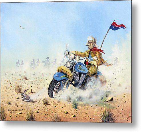 Bike Metal Print featuring the painting Custer On A Hog by Don Griffiths