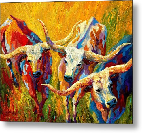 Western Metal Print featuring the painting Dance Of The Longhorns by Marion Rose