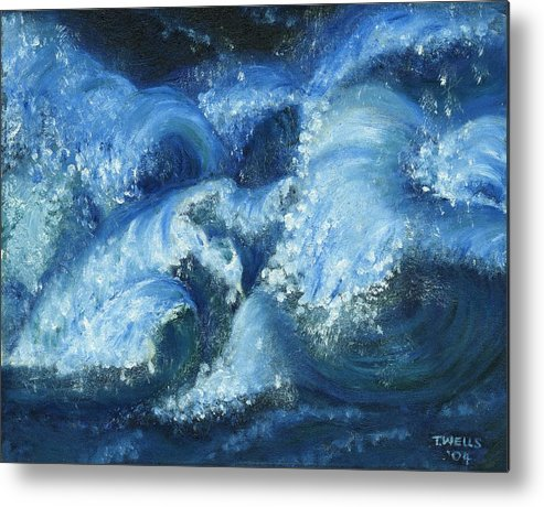 Strong Waves Painted In Blues And Tinges Of Green With Vibrant Color Metal Print featuring the painting Dance Of The Stormy Sea by Tanna Lee M Wells
